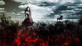Создание художественной сцены: Девушка на красном поле